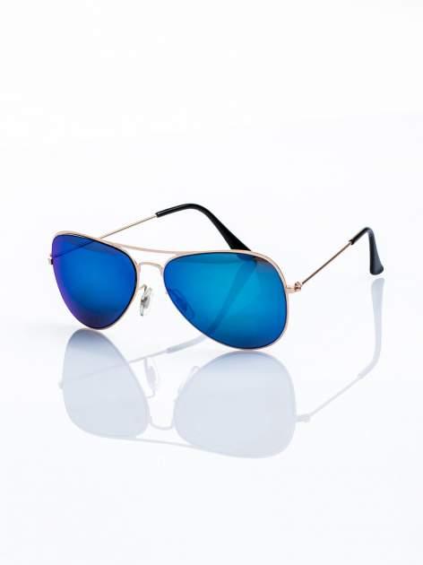 ABSOLUTNY HIT CENOWY niebieskio-złote okulary przeciwsłoneczne pilotki lustrzanki