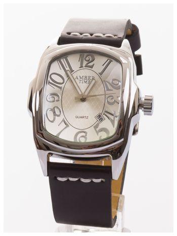 AMBER TIME Klasyczny męski zegarek. Skórzany pasek. Datownik.                                   zdj.                                  1