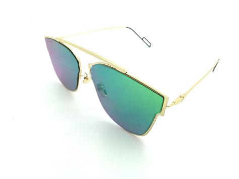 ASPEZO Okulary przeciwsłoneczne damskie zielono-złote HAWAII. Etui skórzane, etui miękkie oraz ściereczka z mikrofibry w zestawie                              zdj.                              2