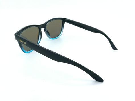 ASPEZO Okulary przeciwsłoneczne unisex POLARYZACYJNE czarno-błękitne LONDON Etui skórzane, etui miękkie oraz ściereczka z mikrofibry w zestawie                              zdj.                              3