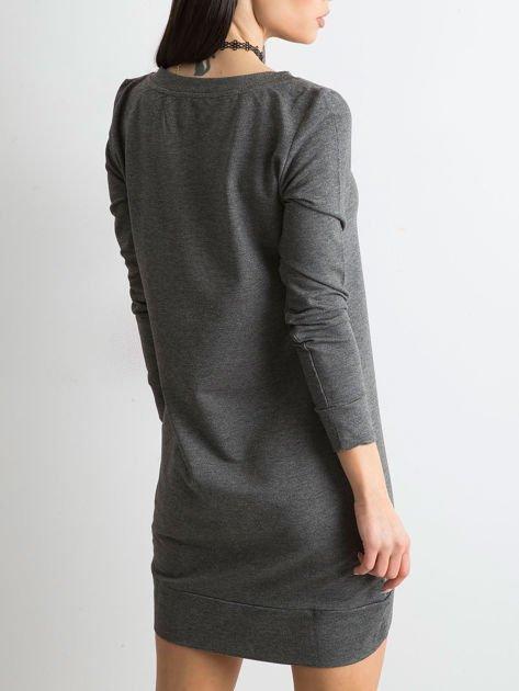 Antracytowa dresowa tunika basic                              zdj.                              4