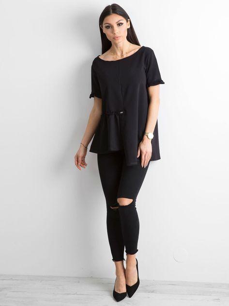 Asymetryczna bluzka czarna                              zdj.                              4