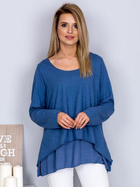 Asymetryczna luźna bluzka w łódkę niebieska                                  zdj.                                  1