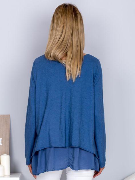 Asymetryczna luźna bluzka w łódkę niebieska                                  zdj.                                  2