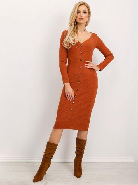 BSL Ceglasta sukienka z guzikami                              zdj.                              2