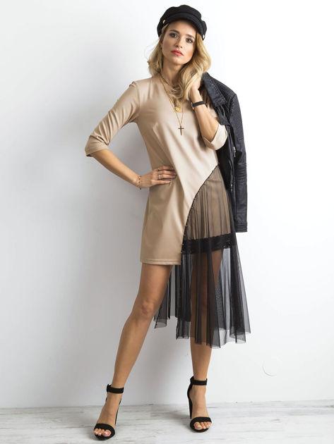 BY O LA LA Beżowa asymetryczna sukienka                              zdj.                              1