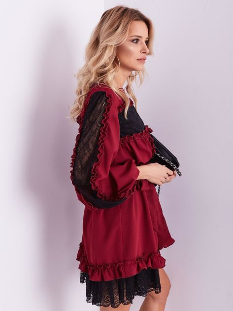 BY O LA LA Bordowa sukienka z koronką i falbankami                              zdj.                              3