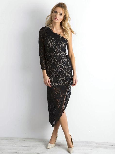 BY O LA LA Czarna asymetryczna sukienka z koronki                              zdj.                              4