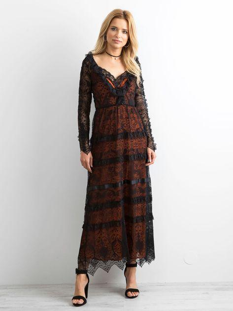 BY O LA LA Czarna sukienka maxi z koronki                              zdj.                              1