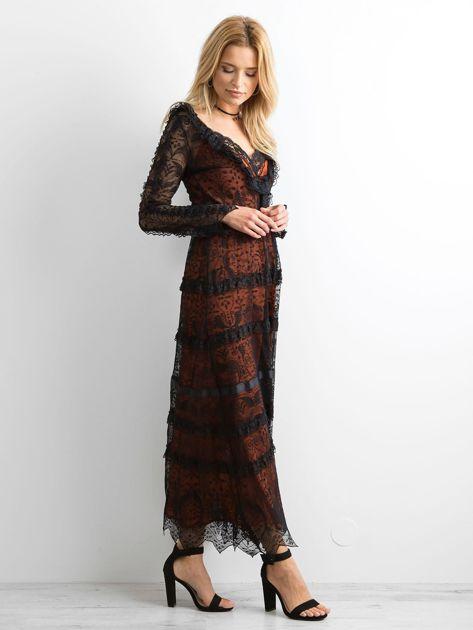 BY O LA LA Czarna sukienka maxi z koronki                              zdj.                              3