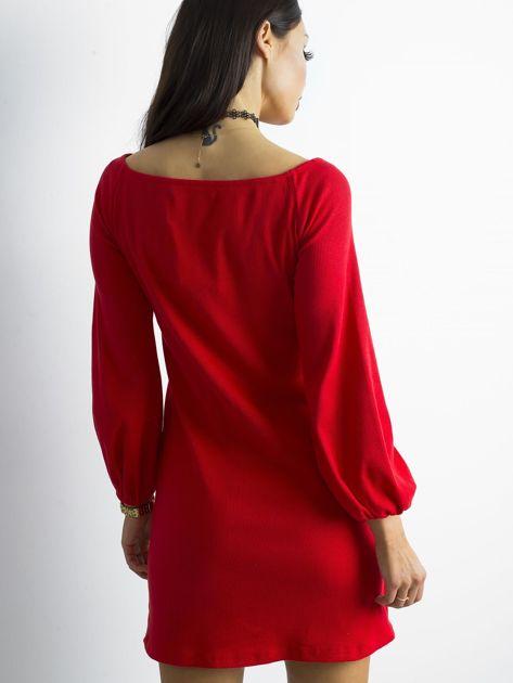 BY O LA LA Czerwona prążkowana sukienka                               zdj.                              2