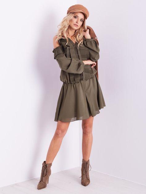 BY O LA LA Khaki sukienka cut out z plisowanym żabotem                              zdj.                              13