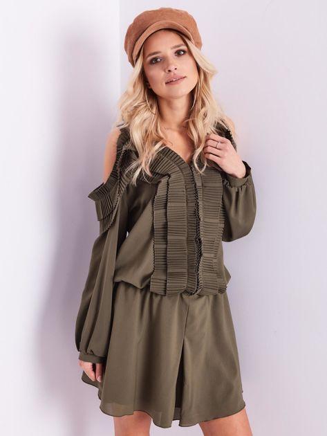 BY O LA LA Khaki sukienka cut out z plisowanym żabotem                              zdj.                              2