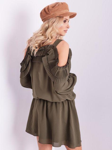 BY O LA LA Khaki sukienka cut out z plisowanym żabotem                              zdj.                              10