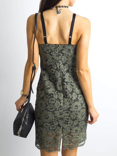 BY O LA LA Khaki sukienka koronkowa                              zdj.                              2