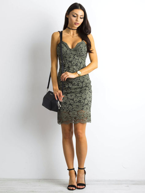 BY O LA LA Khaki sukienka koronkowa                              zdj.                              4