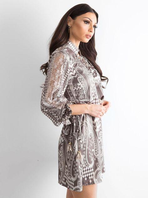 BY O LA LA Khaki sukienka we wzory                              zdj.                              3