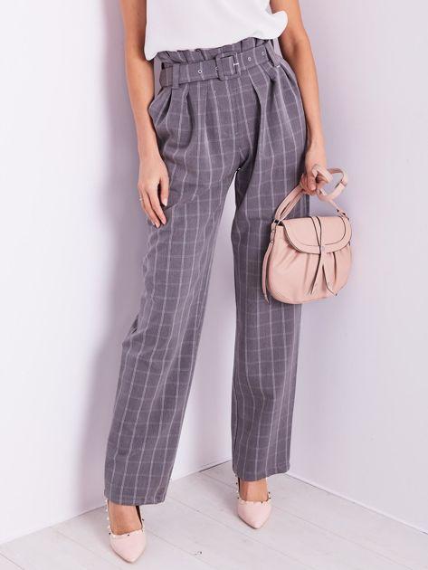 BY O LA LA Szare eleganckie spodnie w kratę                              zdj.                              7