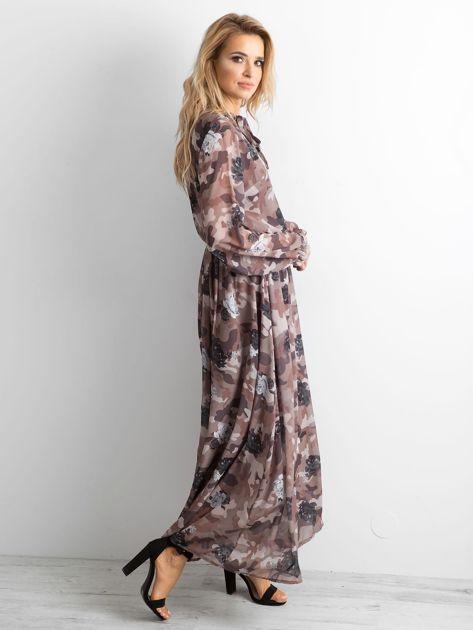 BY O LA LA Wzorzysta sukienka maxi brązowa                              zdj.                              3