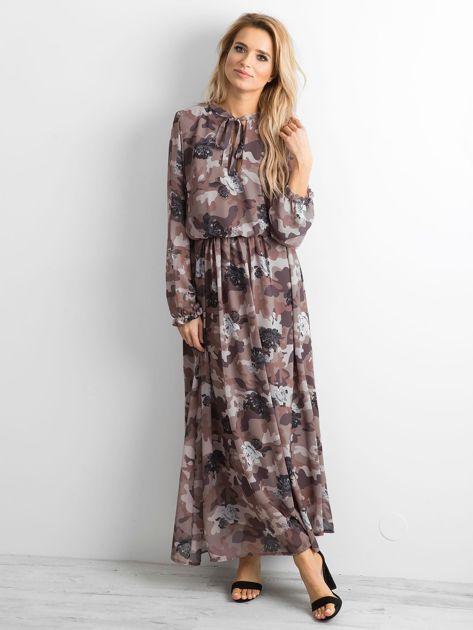 BY O LA LA Wzorzysta sukienka maxi brązowa                              zdj.                              4