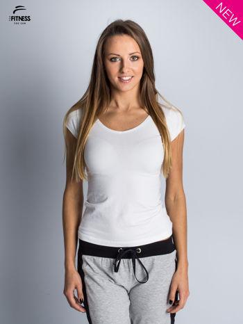 Bawełniana biała bluzka na krótki rękaw FOR FITNESS                                  zdj.                                  1