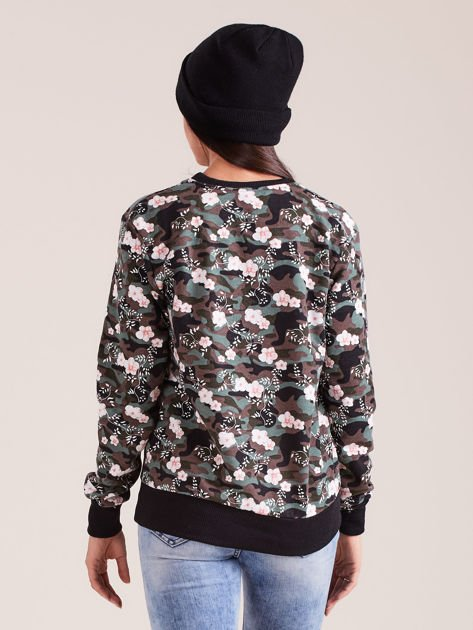 Bawełniana bluza damska we wzory khaki                              zdj.                              2