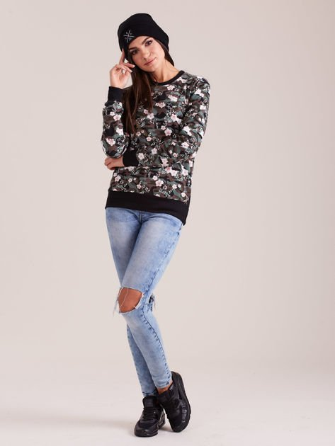 Bawełniana bluza damska we wzory khaki                              zdj.                              5