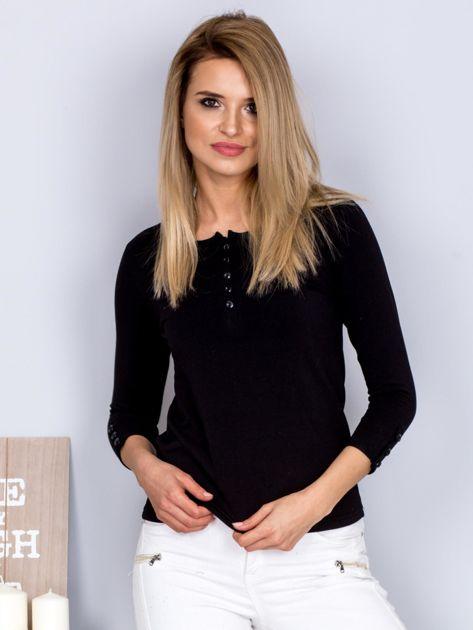 Bawełniana bluzka z guzikami czarna                              zdj.                              1