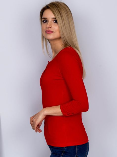 Bawełniana bluzka z guzikami czerwona                                  zdj.                                  3