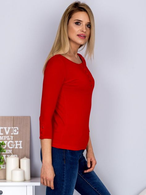 Bawełniana bluzka z guzikami czerwona                                  zdj.                                  5