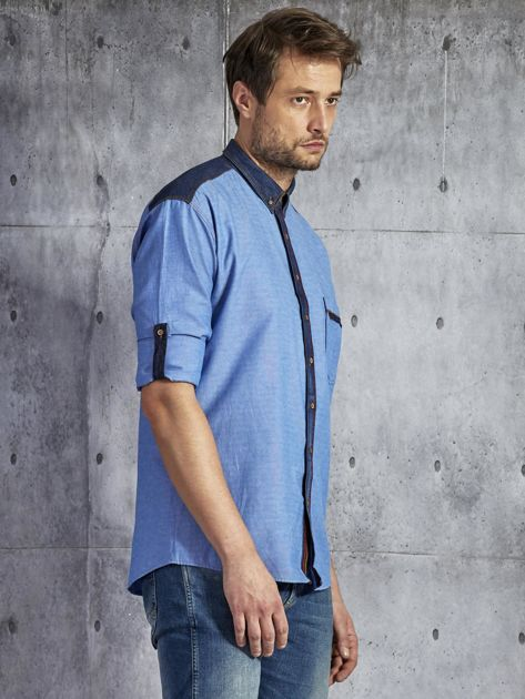 Bawełniana gładka koszula męska z kieszenią niebieska PLUS SIZE                              zdj.                              5