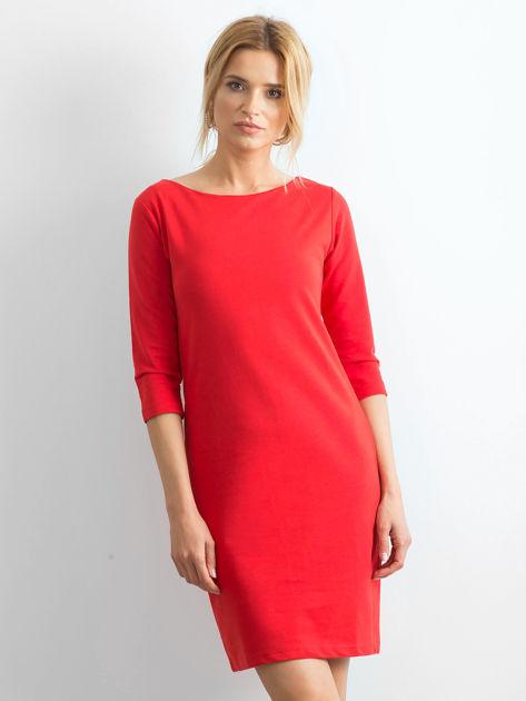 Bawełniana gładka sukienka oversize czerwona                              zdj.                              1