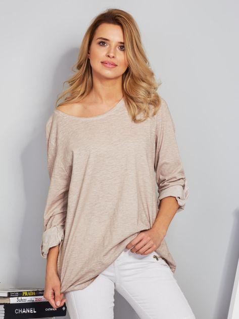 Bawełniana melanżowa bluzka beżowa                                  zdj.                                  1
