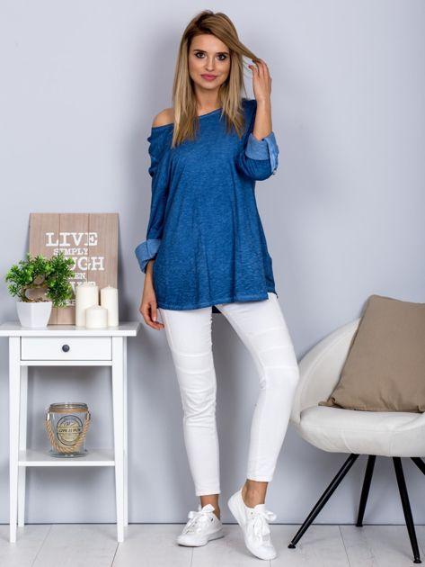 Bawełniana melanżowa bluzka ciemnoniebieska                              zdj.                              4