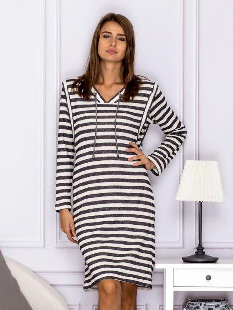 Bawełniana sukienka w paski ze sznurowaniem szara                                  zdj.                                  1