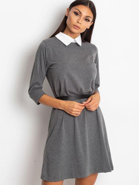 Bawełniana sukienka z kołnierzykiem ciemnoszara                              zdj.                              1