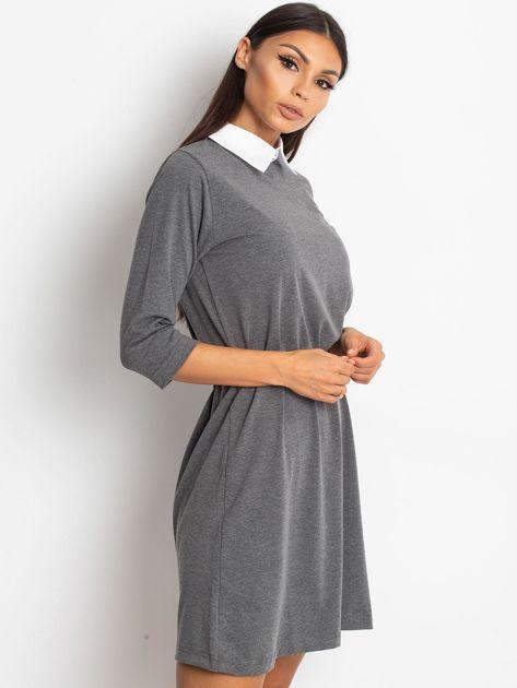 Bawełniana sukienka z kołnierzykiem ciemnoszara                              zdj.                              3