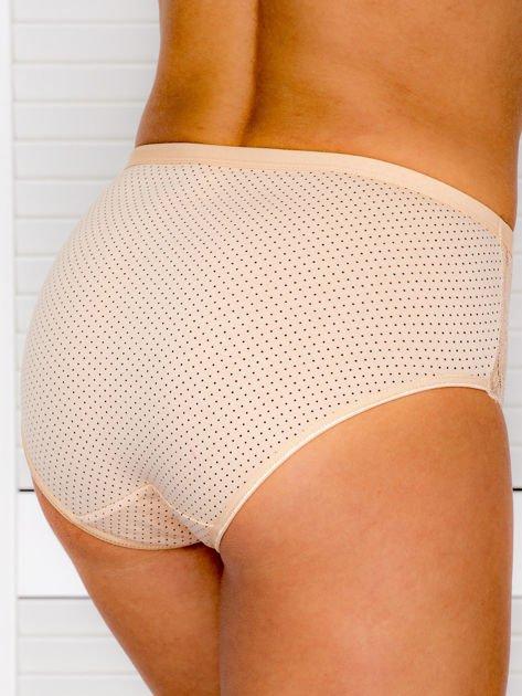 Bawełniane figi damskie high waist w kropki beżowe                              zdj.                              2
