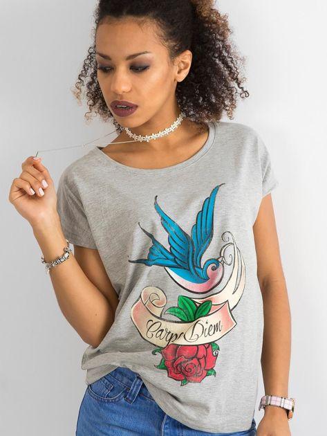 Bawełniany t-shirt szary                              zdj.                              1