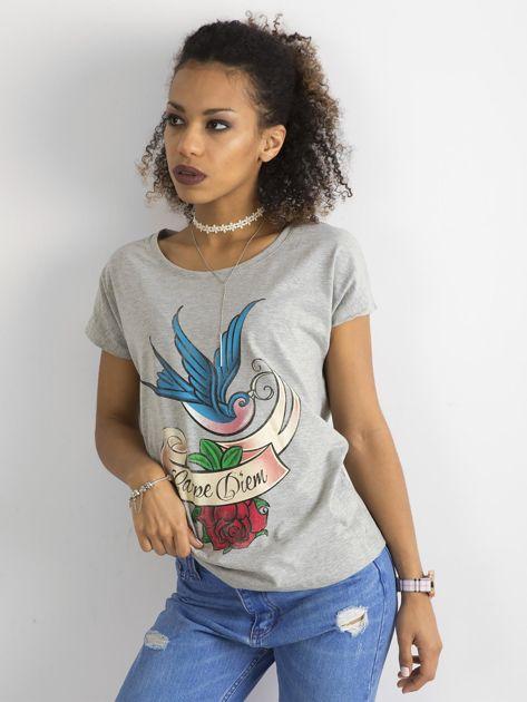 Bawełniany t-shirt szary                              zdj.                              6