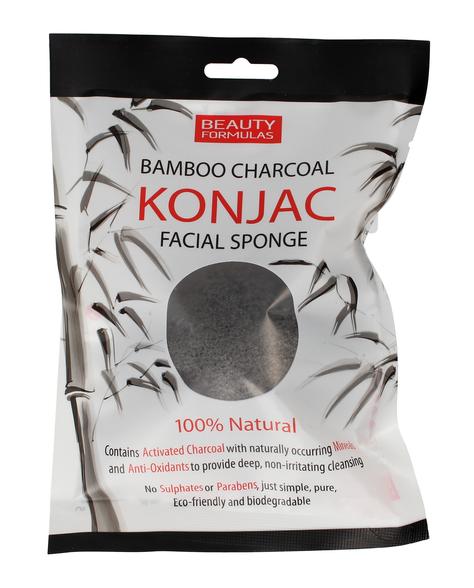 """Beauty Formulas Charcoal Gąbka bambusowa do mycia twarzy z aktywnym węglem"""""""