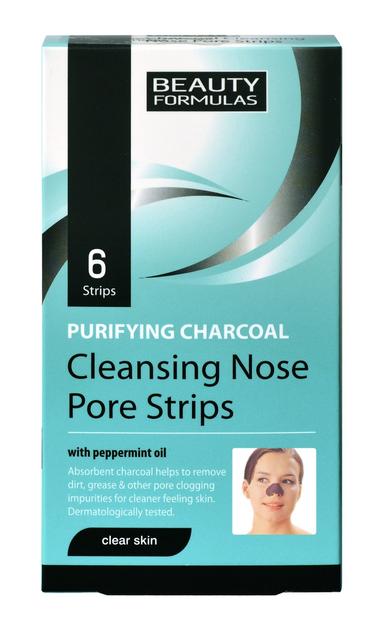 """Beauty Formulas Skin Care Głęboko oczyszczające paski na nos z węglem 6szt"""""""