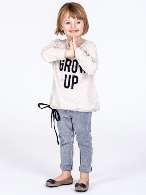 Beżowa bawełniana bluzka dziewczęca GROW UP ze ściągaczem                              zdj.                              5