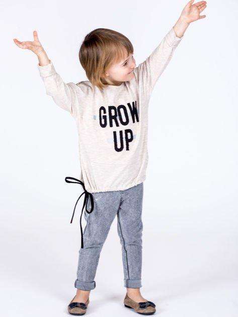 Beżowa bawełniana bluzka dziewczęca GROW UP ze ściągaczem                              zdj.                              6