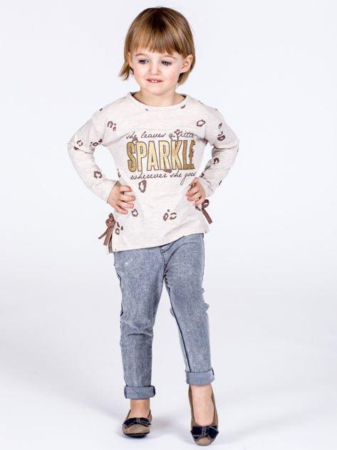 Beżowa bawełniana bluzka dziewczęca z nadrukiem i kokardkami                              zdj.                              5