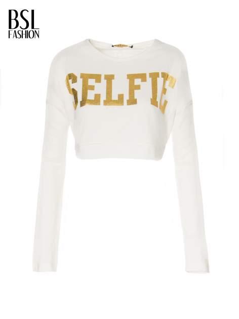 Beżowa bluza cropped ze złotym napisem SELFIE                                  zdj.                                  5