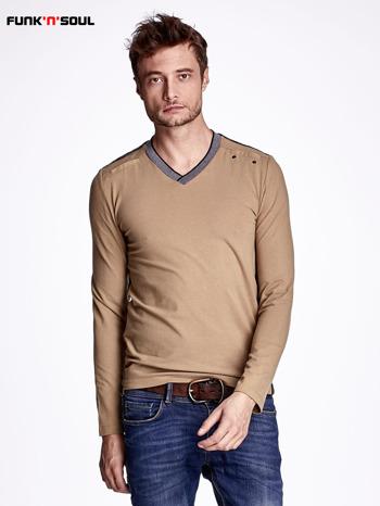 Beżowa bluza męska z napami FUNK N SOUL                                  zdj.                                  1
