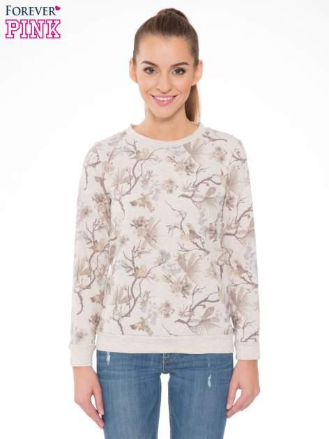 Beżowa bluza z nadrukiem all over floral print