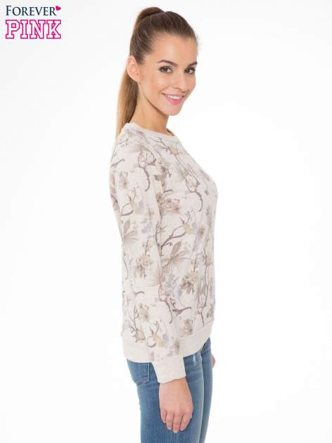 Beżowa bluza z nadrukiem all over floral print                                  zdj.                                  3