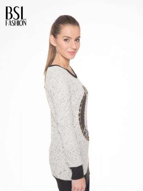 Beżowa bluza z nadrukiem wieży Eiffla                                  zdj.                                  3